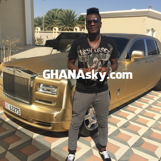 Asamoah Gyan with his Golden Rolls Royce