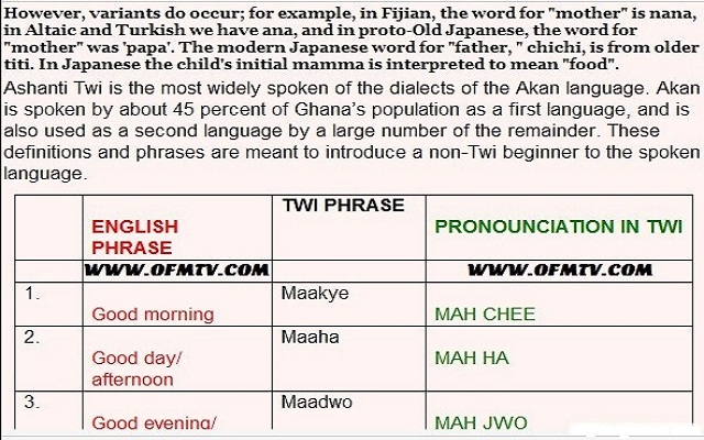 Free Akan Twi Dictionary & Translator Lesson Four