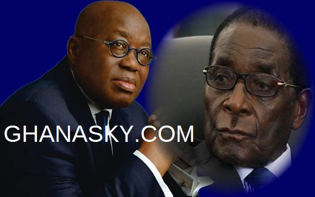 President Akufo-Addo of Ghana (L) and President Robert Mugabe of Zimbabwe (R)