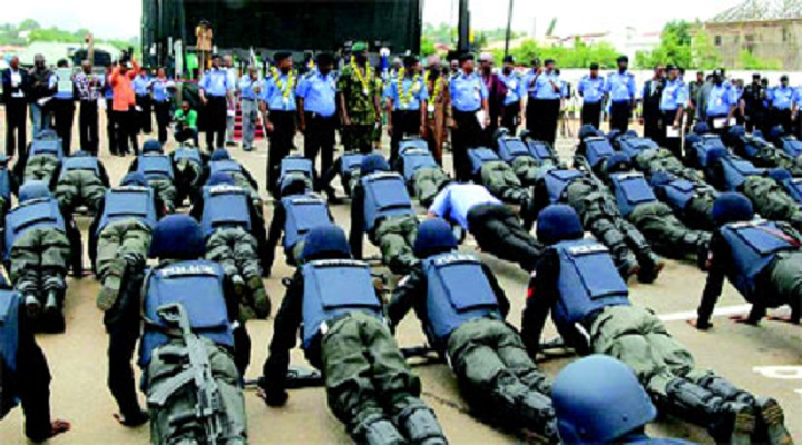 Policemen on training According to survey conducted by NOIPolls