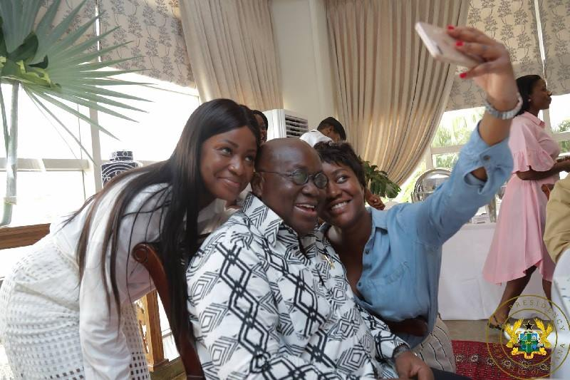 President Akufo-Addo and his daughters at his 74th birthday celebrations
