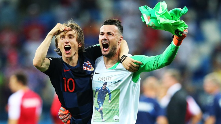 2018 FIFA World Cup Russia: Croatia vs Denmark [1:1] but 3-2 on penalties with Danijel Subasic saving three spot-kicks