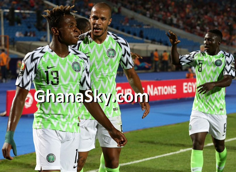 Samuel Chukwueze celebrates goal with William Paul Ekong Peter Etebo of Nigeria during the 2019 Africa Cup of Nations Finals, quarterfinals match between Nigeria and South Africa at Cairo International Stadium, Cairo, Egypt.