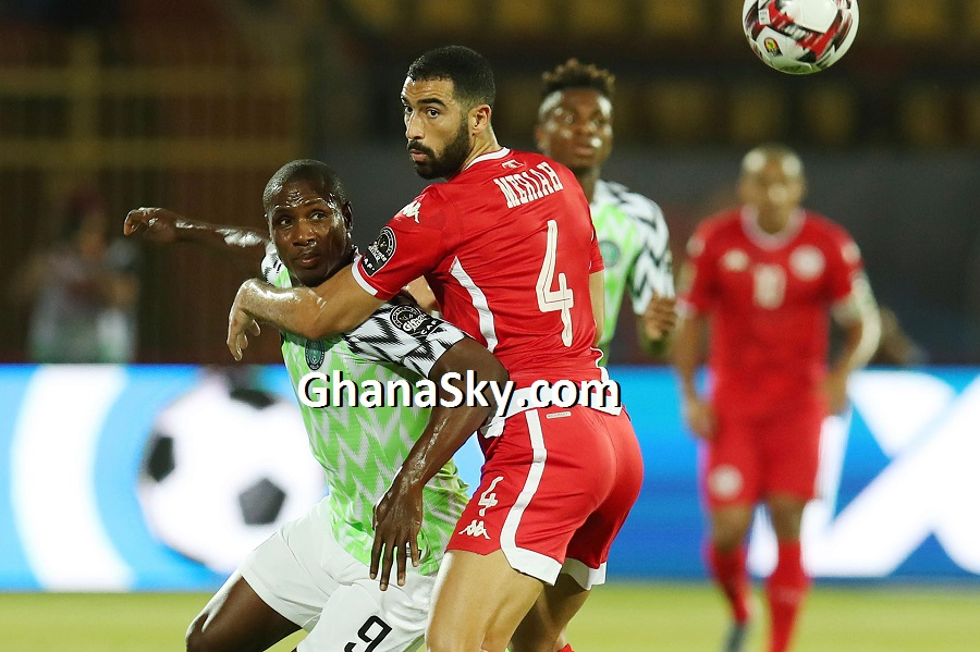 Odion Jude Ighalo of Nigeria challenged by Yassine Merriah of Tunisia during the 2019 Africa Cup of Nations 3rd and 4th Place match between Tunisia and Nigeria at the Al Salam Stadium, Cairo - Egypt.