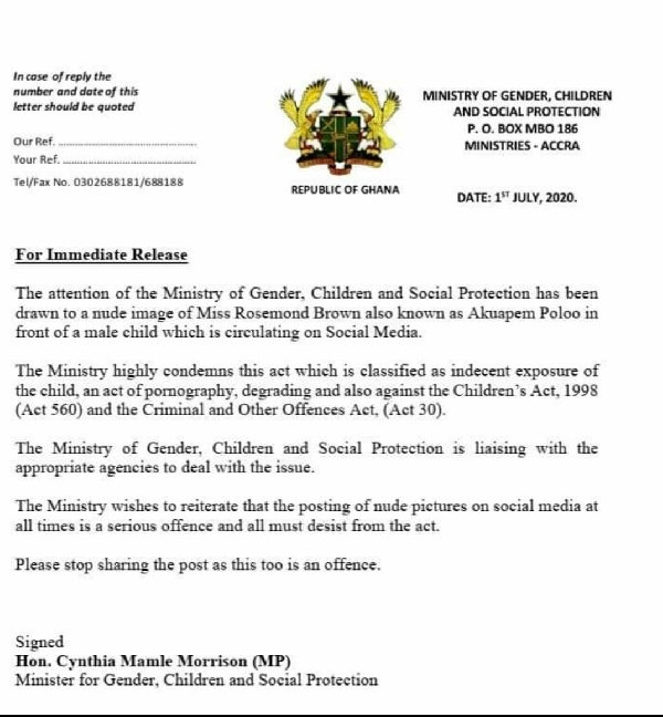 The Ministry of Gender, Children, and Social Protection Letter